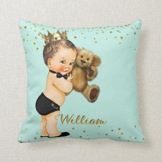 Cojín Decorativo Nombre del bebé de príncipe Nursery Mint Gold el |