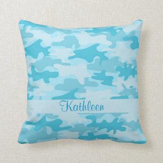Cojín Decorativo Nombre del camuflaje de Camo de las azules