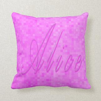 Cojín Decorativo Nombre rosado de Alicia en mosaico del rosa en