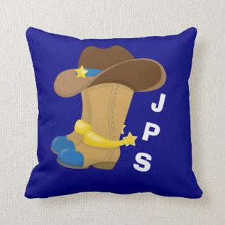 Cojín Decorativo Occidental azul del gorra de las botas de vaquero
