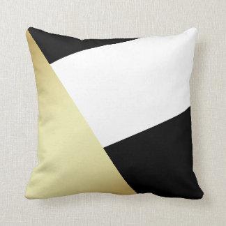 Cojín Decorativo Oro negro, blanco y metálico geométrico