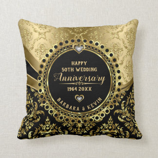 Cojín Decorativo Oro negro y brillante del 50.o aniversario de boda