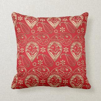 Cojín Decorativo Oro rojo y pálido Paisley