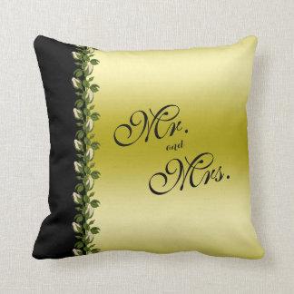 Cojín Decorativo Oro romántico floral elegante y Sr. y señora