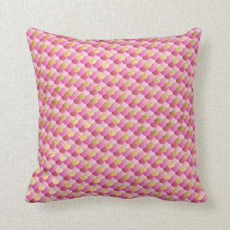 Cojín Decorativo Oro y escalas rosadas de la sirena