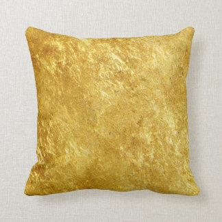 Cojín Decorativo Oro y modelo de mármol plateado amarillo