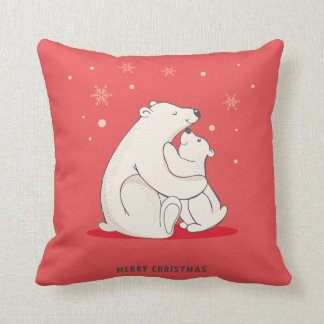 Cojín Decorativo Osos polares del navidad rojo lindo