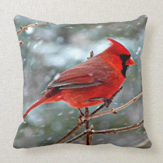 Cojín Decorativo Pájaro cardinal rojo, día de invierno frío