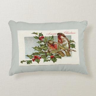 Cojín Decorativo Pájaros del vintage y navidad del gris del acebo