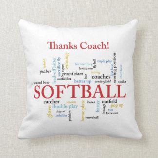 Cojín Decorativo Palabras del coche del softball de las gracias del