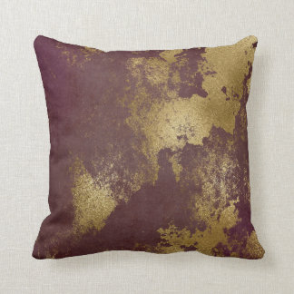 Cojín Decorativo Pared sucia apenada Borgoña roja del oro