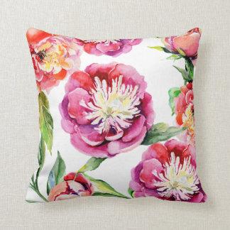 Cojín Decorativo Peonies florales de la verde salvia del rosa de la