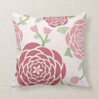 Cojín Decorativo Peonies rosados y acuarela florales