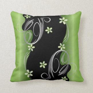 Cojín Decorativo Peridot floral y diseño negro del remolino