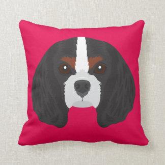 Cojín Decorativo Perro de aguas de rey Charles arrogante rosado
