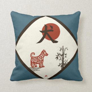 Cojín Decorativo Perro del kanji en azul