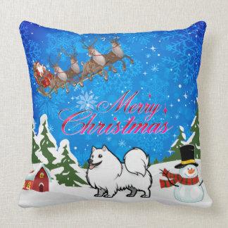 Cojín Decorativo Perro esquimal americano de las Felices Navidad