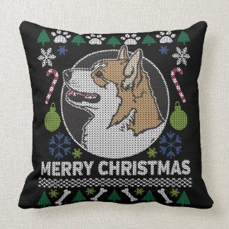 Cojín Decorativo Perro feo del suéter del navidad del Corgi Galés