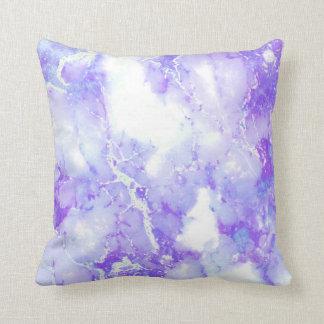Cojín Decorativo Piedra de mármol nublada de la lavanda púrpura