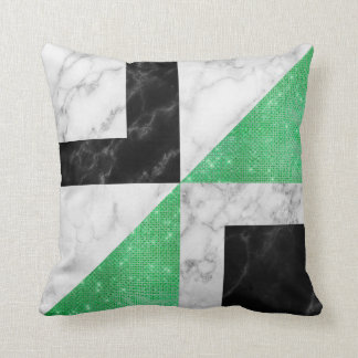 Cojín Decorativo Piedra del mármol del negro de la verde menta del