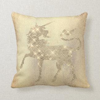 Cojín Decorativo Pintura brillante del unicornio del oro del
