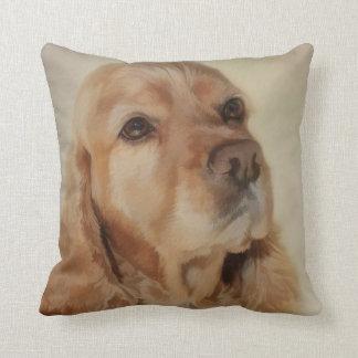 Cojín Decorativo Pintura de Digitaces de un perro hermoso de cocker