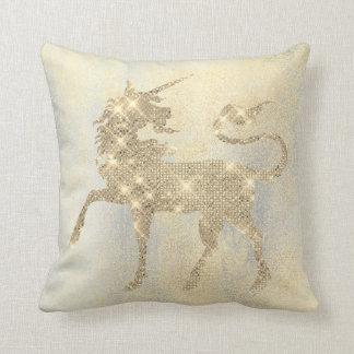 Cojín Decorativo Pintura más astuta brillante del unicornio del oro