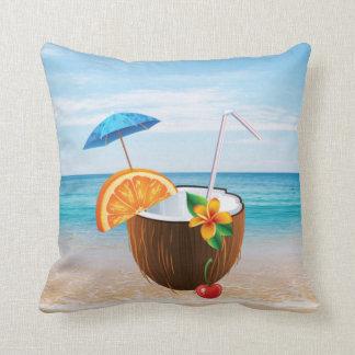 Cojín Decorativo Playa tropical, cielo azul, arena del océano, coco