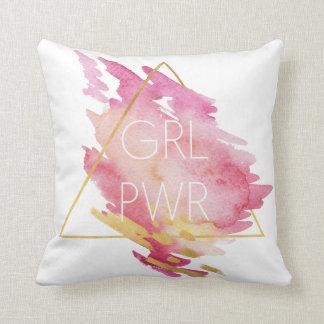 Cojín Decorativo Poder del chica en el rosa y el oro - acuarela