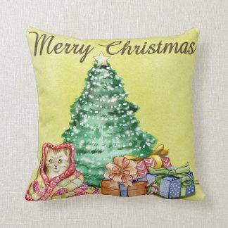 Cojín Decorativo Presentes elegantes del árbol del gato del navidad