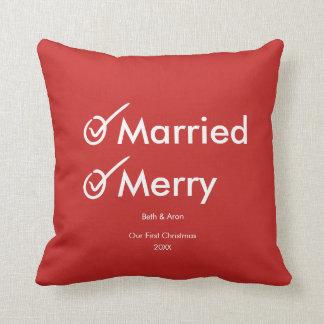 Cojín Decorativo Primeros Navidad casados casados y Felices del |