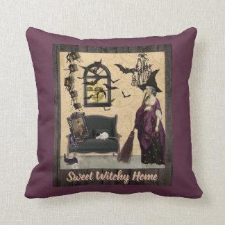 Cojín Decorativo Púrpura casera dulce de Witchy