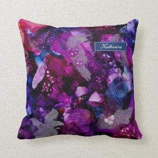 Cojín Decorativo Púrpura dramática del extracto de las tintas
