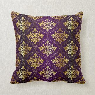 Cojín Decorativo Púrpura y damasco del oro