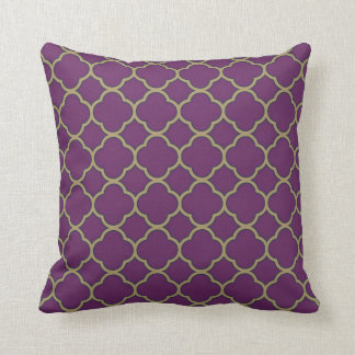 Cojín Decorativo Púrpura y flora profunda Quatrefoil del oro