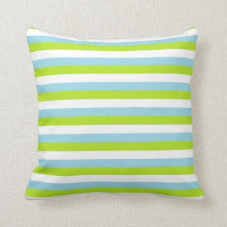 Cojín Decorativo Rayas azules del verde lima, blancas y en colores