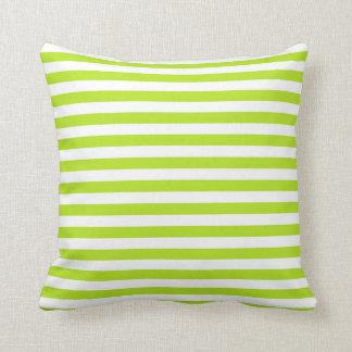 Cojín Decorativo Rayas de la verde lima y del blanco