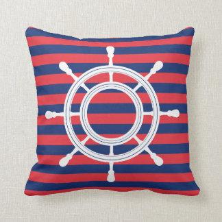 Cojín Decorativo Rayas de los azules marinos y del rojo - timón