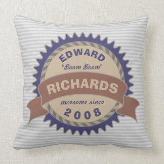 Cojín Decorativo Rayas del logotipo del gris azul de Brown del