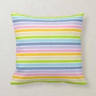 Cojín Decorativo Rayas en colores pastel resumidas blanco del arco