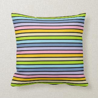 Cojín Decorativo Rayas en colores pastel resumidas negro del arco