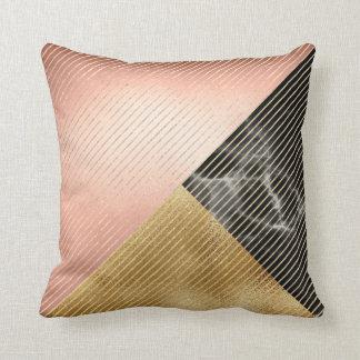 Cojín Decorativo Rayas metálicas de la geometría del oro color de