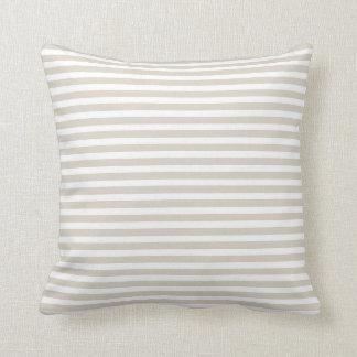 Cojín Decorativo Rayas náuticas beige y blancas de lino