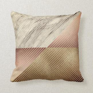 Cojín Decorativo Rayas retras de la geometría del oro color de rosa
