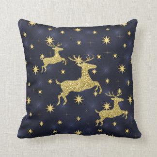 Cojín Decorativo Reno de oro y azul de medianoche de las estrellas