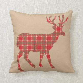 Cojín Decorativo Reno del navidad de la tela escocesa
