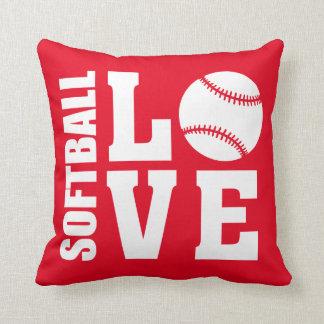 Cojín Decorativo Rojo del amor del softball