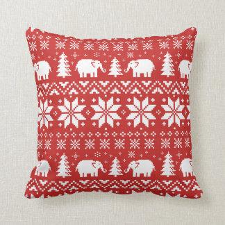 Cojín Decorativo Rojo lindo del modelo del navidad de los elefantes