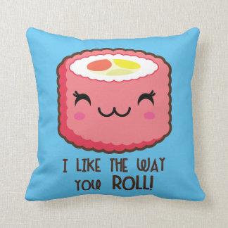 Cojín Decorativo Rollo de sushi lindo Emoji