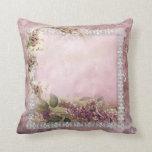 Cojín Decorativo Rosa blanco de la lavanda del capítulo del cordón